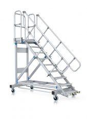 Zarges Plattformtreppe fahrbar, mit Ergo-Stop, Neigung 45°