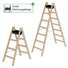 Günzburger Holz Stehleiter beidseitig begehbar