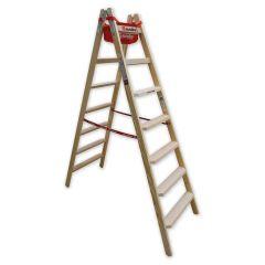 Euroline Holz Stufenstehleiter mit Comfort-Stufen mit Werkzeugablage 2x7 Stufen