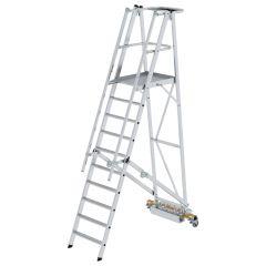 Günzburger Podestleiter fahrbar mit schmaler Traverse 10 Stufen