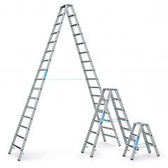 Zarges gebördelte Stufen-Stehleiter R13step-B eloxiert beidseitig begehbar
