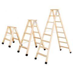 Günzburger Holz Stufen-Stehleiter beidseitig begehbar