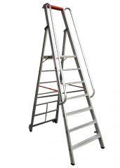 Euroline Premium 32677 Stufenstehleiter mit großer Standplattform 4 Stufen