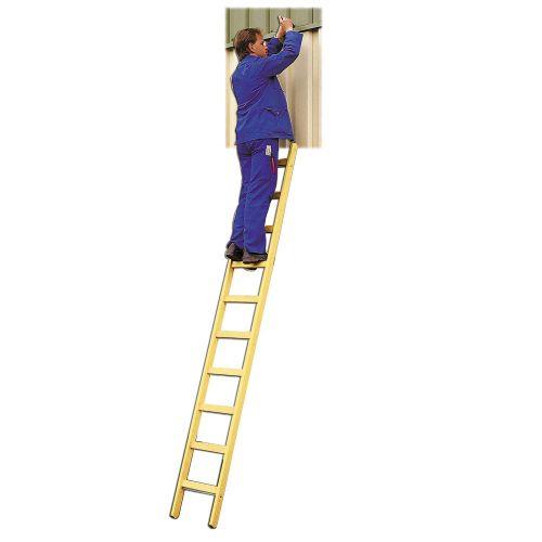 Euroline Holz Sprossenanlegeleiter inkl. 2 rutschsichere Leiterfüße